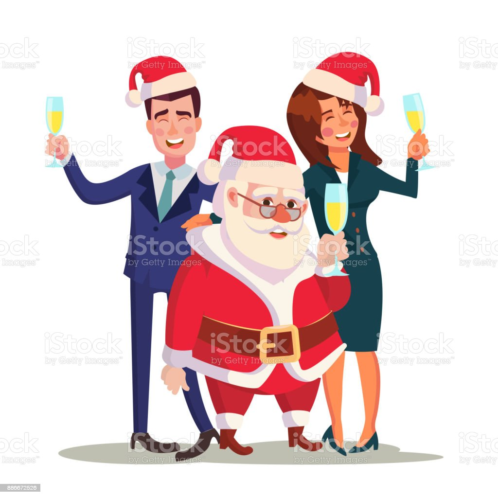 Corporate Christmas Party Vector Man Woman And Santa Claus End Of ...