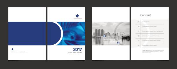 Corporate design annual report or catalog, magazine, flyer, booklet,  brochure. Set : include cover design and content page layout template size A4 vector EPS-10 and sample image with Gradient Mesh. vector art illustration
