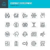 Set of Corporate Development thin line vector icons.