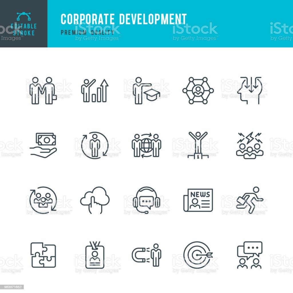 Desarrollo corporativo - conjunto de iconos de vector de línea - ilustración de arte vectorial