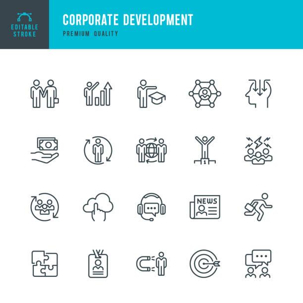 기업 개발-라인 벡터 아이콘 세트 - 개발 stock illustrations