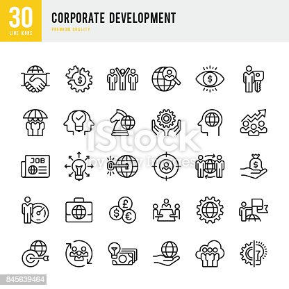 Set of 30 Corporate Development thin line vector icons.