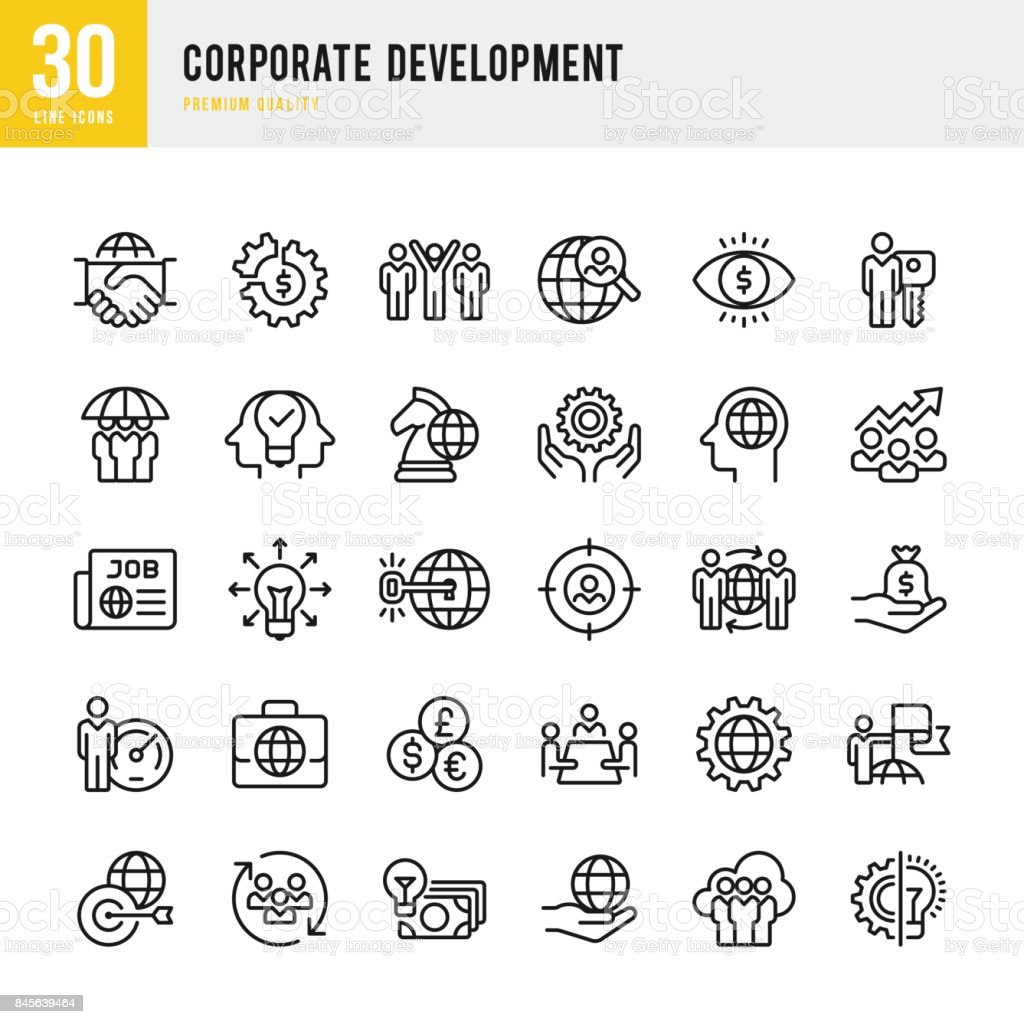 Corporate Development - set of thin line vector icons vector art illustration