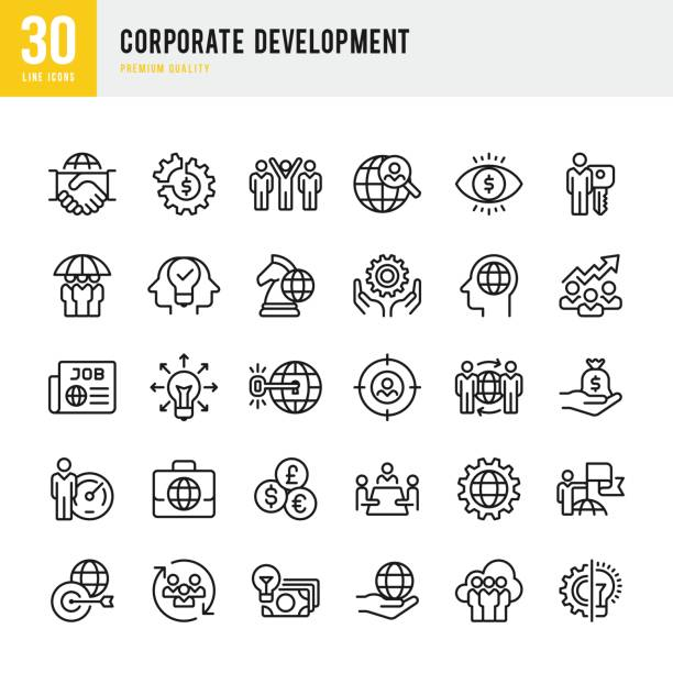 corporate development - set of thin line vector icons - social stock illustrations, clip art, cartoons, & icons
