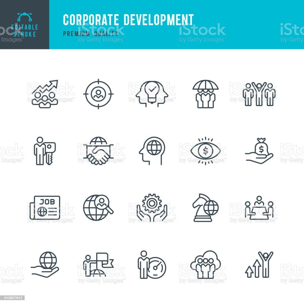 Unternehmensentwicklung - dünne Linie Vektor-Icons set - Lizenzfrei Anwerbung Vektorgrafik