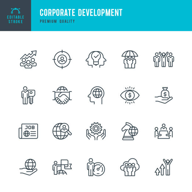 corporate development - set of thin line vector icons - zawód stock illustrations
