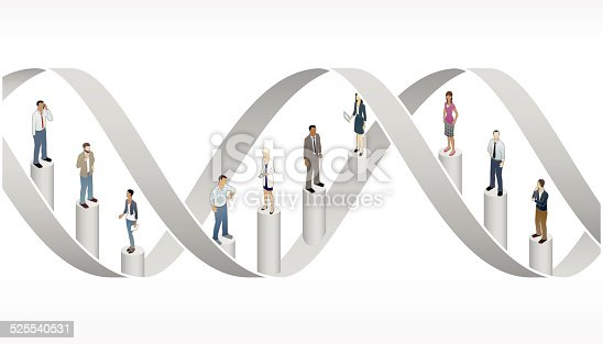 Business people stand inside a double helix representing corporate DNA in this conceptual illustration.