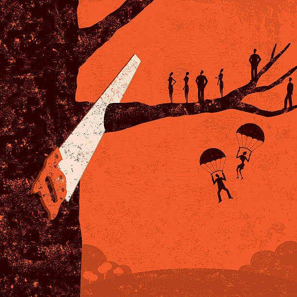 Corporate Downsizing Business people watch as their branch is cut from the tree. RETROROCKET stock illustrations