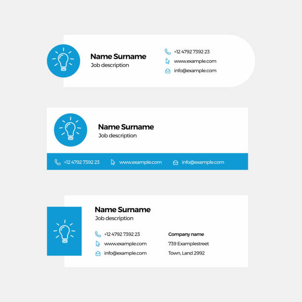 Corporate Email Signature Design Blue Light Bulb vector art illustration