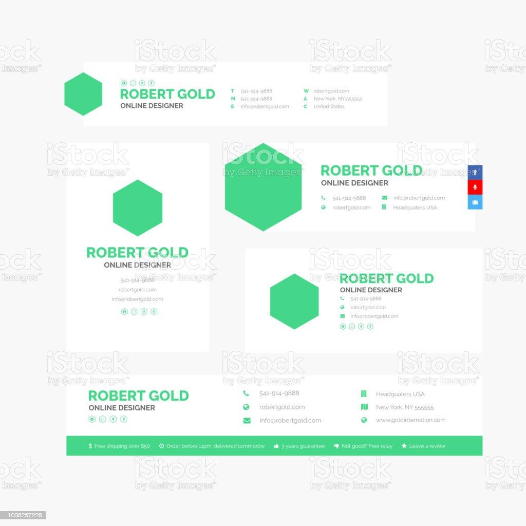 Hexágono de Design de assinatura de E-mail corporativo - ilustração de arte em vetor