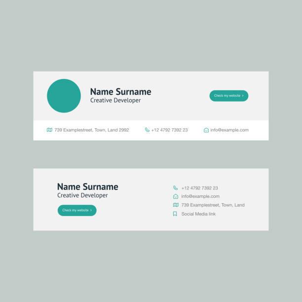 corporate email signature design mint horizontal - podpis stock illustrations
