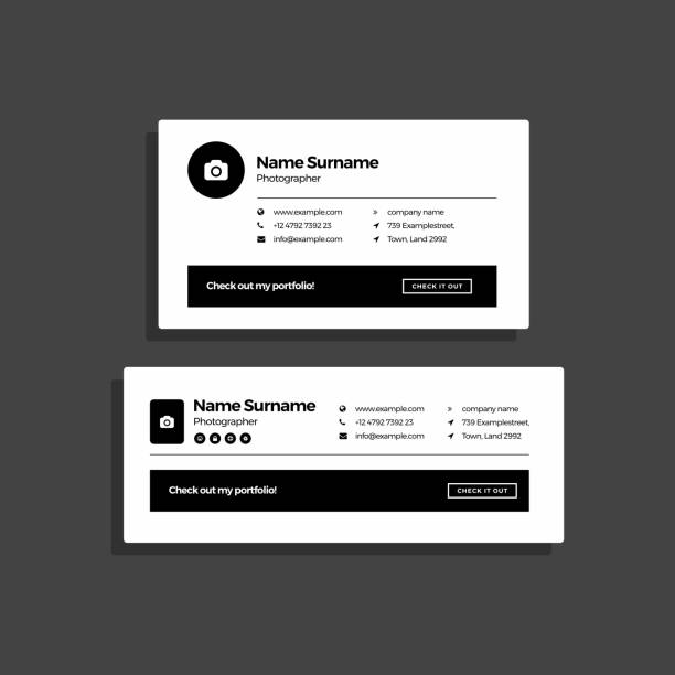 Corporate Email Signature Design Photographer Minimal vector art illustration