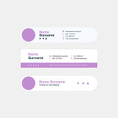 Corporate Email Signature Design Pink Blue Vertical