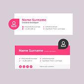 Corporate Email Signature Design Pink Horizontal Profile Picture