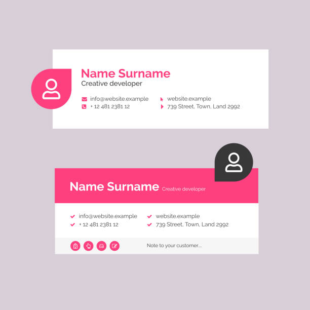 Corporate Email Signature Design Pink Horizontal Profile Picture Vector Illustration Of Corporate Email Signature Design. Pink Minimal Design. signature stock illustrations