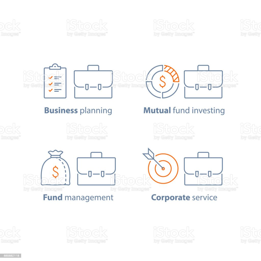 Corporate finance, business solution, investment planning, financial security, mutual fund management, productivity concept vector art illustration