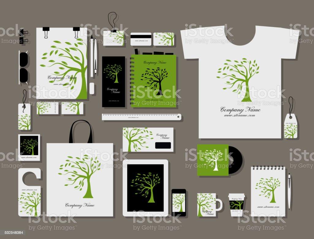 Corporate flat mock-up template, green tree design