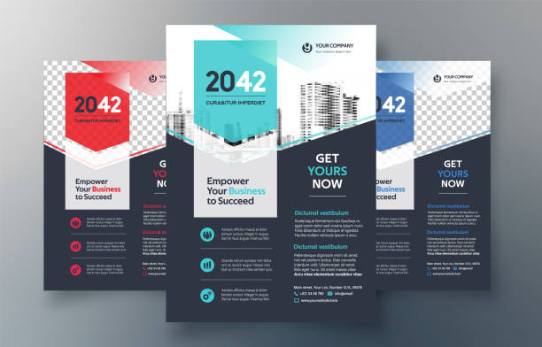 corporate flyer design template in a4. 3 color ways included. can be adapt to brochure, annual report, magazine,poster, corporate presentation, portfolio, banner, website. - лекало stock illustrations