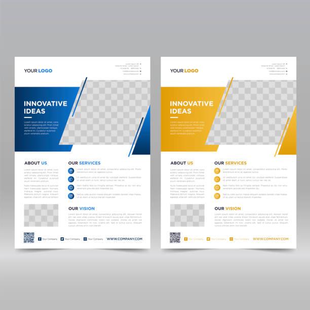 szablon projektu ulotki korporacyjnej - broszura stock illustrations