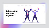 Corporate Friendship and Good Deal Landing Page Template. Business People Characters Partnership, Project Meeting and Agreement during Negotiation. Partners Men Hold Hands. Cartoon Vector Illustration