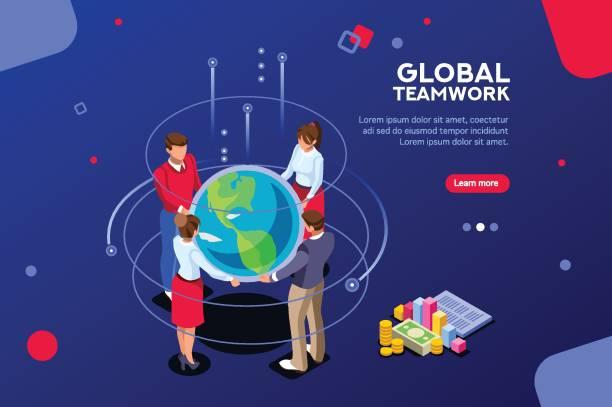 stockillustraties, clipart, cartoons en iconen met corporate global search idee - new world