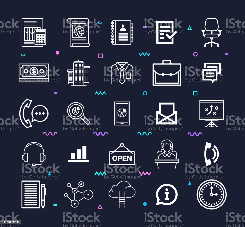 Corporate growth strategies outline style symbols on dark background....