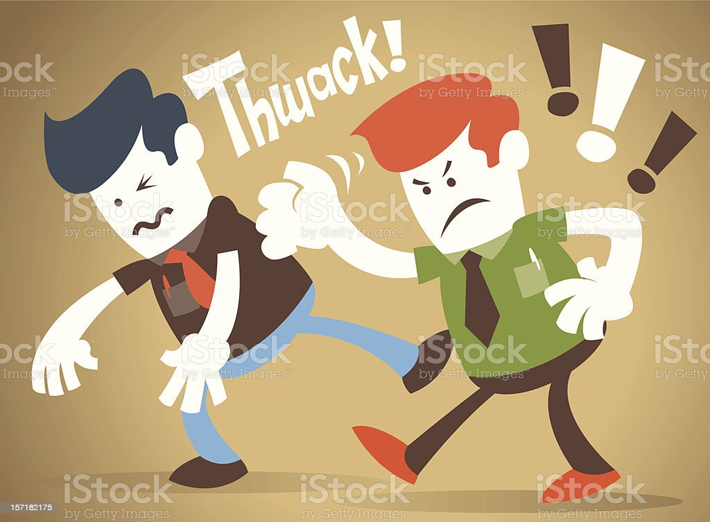 Corporate Guy has a fight with his rival royalty-free stock vector art