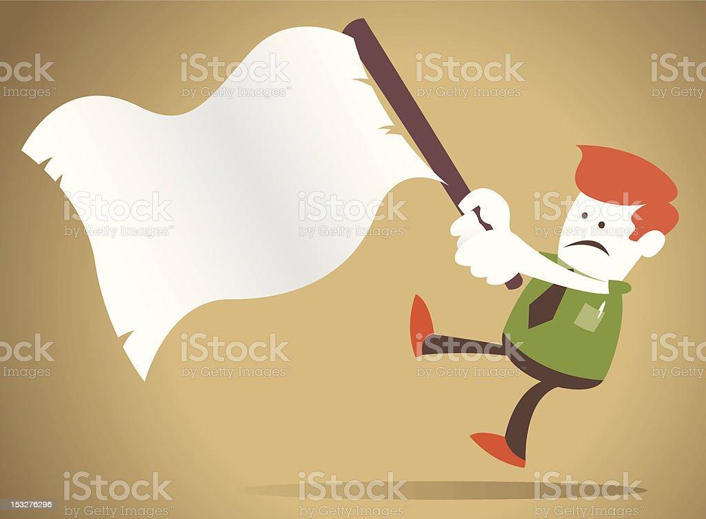 Corporate Guy waves the white flag of surrender vector art illustration