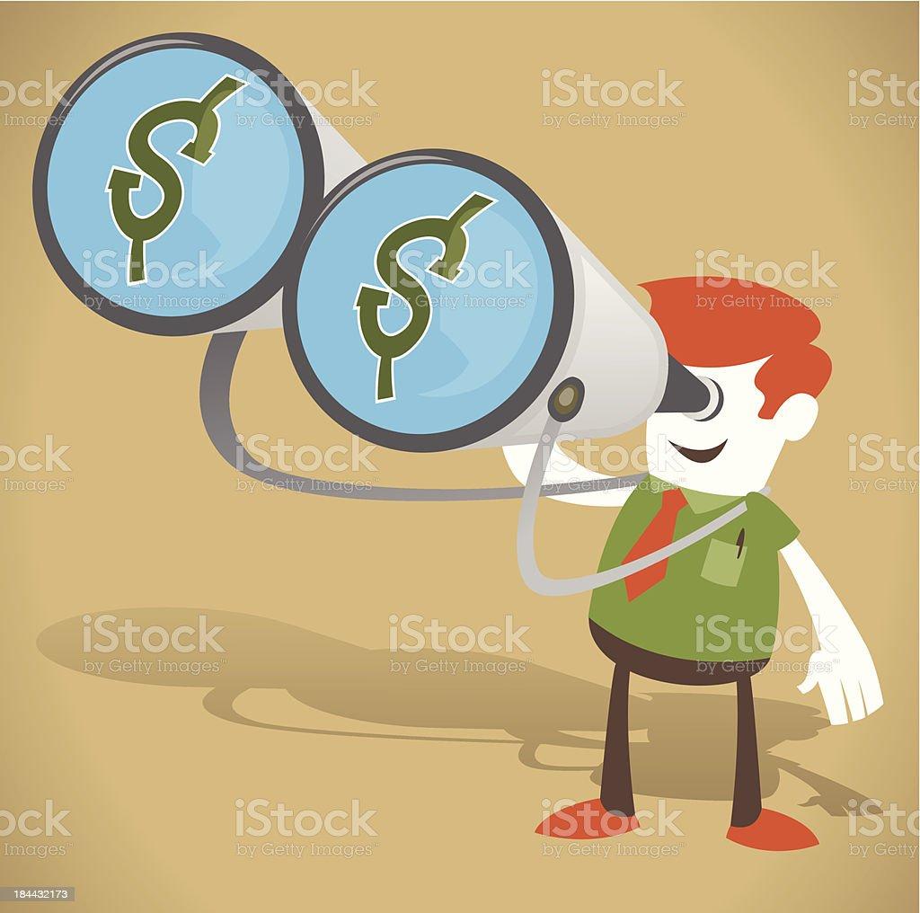 Corporate Guy with Money in his Binoculars royalty-free corporate guy with money in his binoculars stock vector art & more images of binoculars
