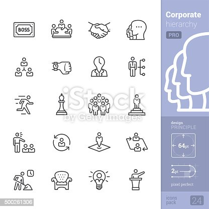 Corporate Hierarchy related stroke-style icons pack.