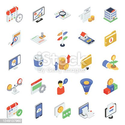 Here is a finance and accounting icon in modern isometric style. An admirable way to promote business through these icons. Get yourself ready to boost up any of your design projects with these editable vectors. Grab it now.