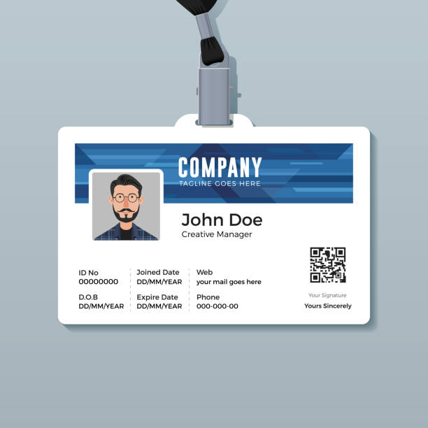 Corporate ID Card Template with Abstract Blue Technology Background Multipurpose identity card design id card stock illustrations