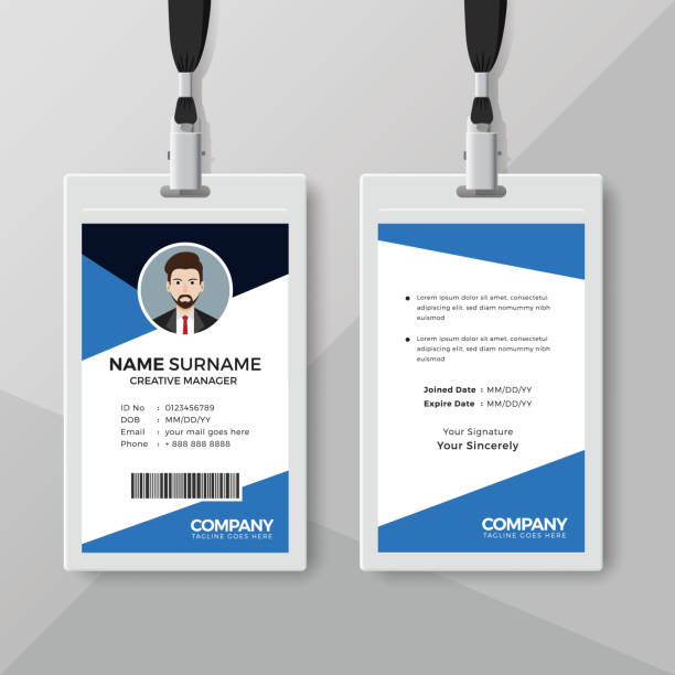 corporate id card template with blue details stock vector art more