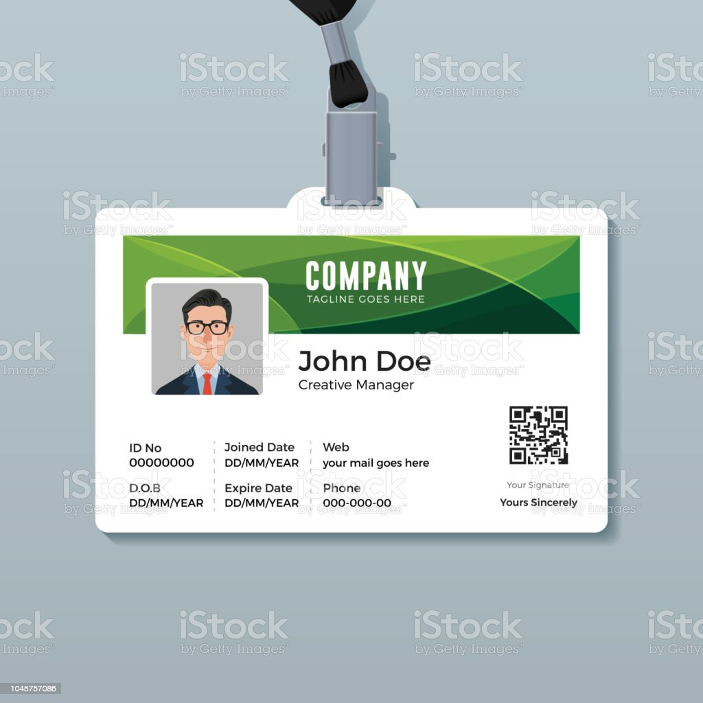 Corporate Id Card Template Mit Grne Kurve Hintergrund Stock Vektor