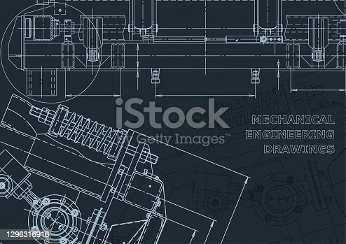 istock Corporate Identity, backgrounds. Mechanical engineering drawing. Machine-building industry 1296316916