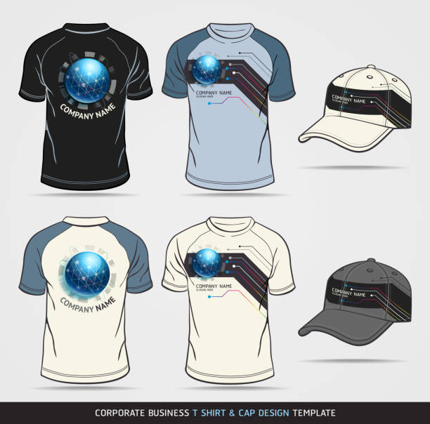 corporate identity business set. t-shirt and cap design template - business casual fashion stock illustrations