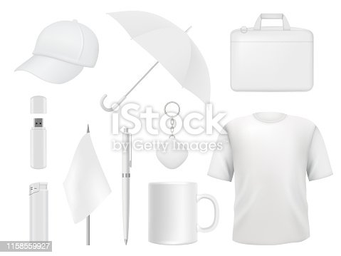 Corporate identity. Business souvenir items clothes packaging stickers pen badge lighter vector empty mockup template