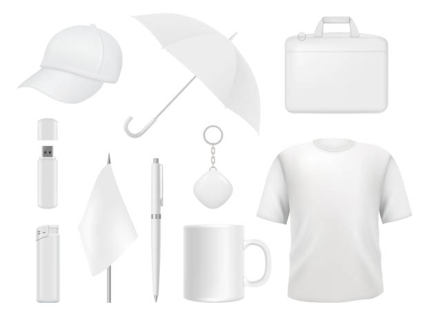 Corporate identity. Business souvenir items clothes packaging stickers pen badge lighter vector empty mockup template Corporate identity. Business souvenir items clothes packaging stickers pen badge lighter vector empty mockup template. Illustration of t-shirt and umbrella, flag and lighter, cap and cup for sale stock illustrations