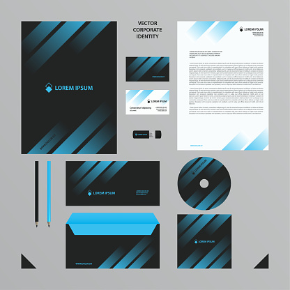 Corporate Identity business template. Company style set in black tones with blue transparent gradient in the lines.