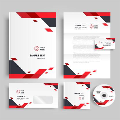 Corporate identity design template red color