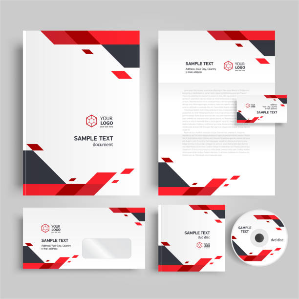 corporate identity design template red color - stationery templates stock illustrations
