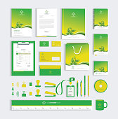 Corporate identity design template with green leafs. Vector illustration eps-10.