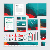 Corporate identity design template with polygonal pattern. Vector illustration eps-10.