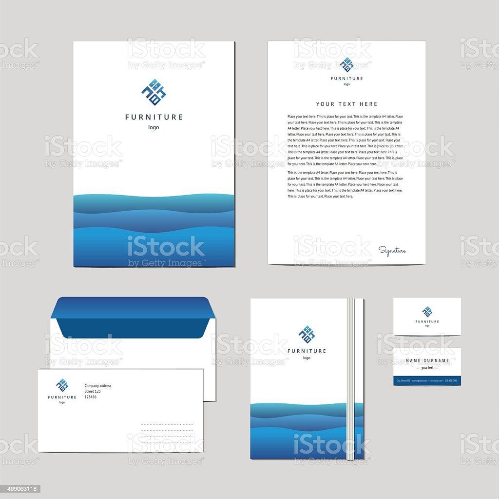 Corporate Identity Furniture Company Blue Design Template Stock