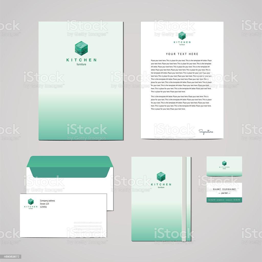 Corporate Identity Furniture Company Turquoise Design Template ...