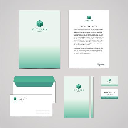 Corporate identity furniture company turquoise design template.