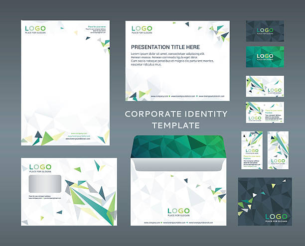 Corporate identity kit in low polygon style. Company style Corporate identity kit in low-poly style. Letter Head design, Presentation template, Envelope, Business Card, CD Cover. Turquoise and yellow version. Vector  letterhead stock illustrations