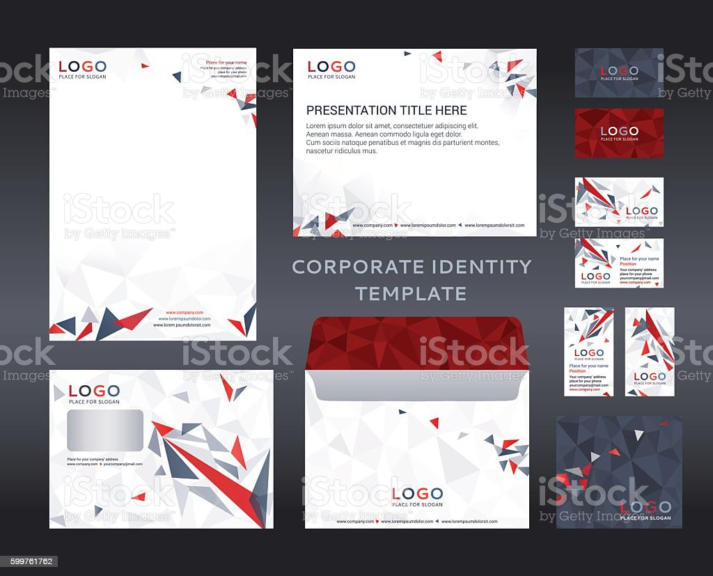 corporate identity kit in low polygon style company style stock, Low Poly Business Presentation Template, Presentation templates
