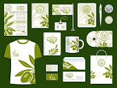 Brand or company corporate identity templates for olive oil farm or olive products industry. Branded accessories set of vector branding office business cards, stationery and promo apparel set