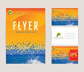 Set of corporate identity templates with dolphin logo. Travel and sea cruise themes. Flyer, discount card and business card with front and back views. Colorful branding design. Vector collection.